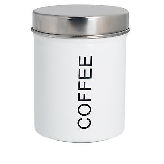 Contemporary Coffee Canister - Steel Kitchen Storage Caddy with Rubber Seal - White