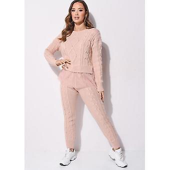 Tyll Mesh Hem kabel strikket loungewear co ord sett rosa