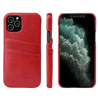 Pour iPhone 12 Pro/12 Case Deluxe Leather Wallet Back Shell Slim Cover Red