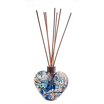 Herz geformt Reed Diffusor weiß blau Gold Crackle von Amelia Kunst Glas