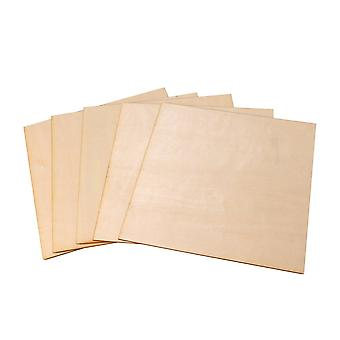 5 x Unpainted Square Wooden Sheets 200x200x1.5mm for Craft DIY Projects