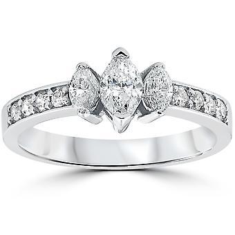 1ct 3-steen markiezas Diamond Engagement Ring 14K Wit Goud