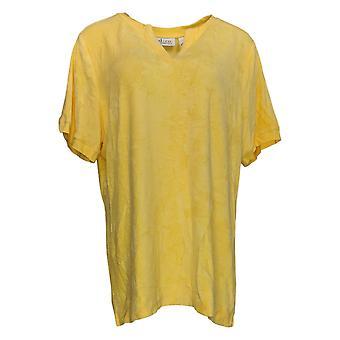 Denim & Co. Women's Top Essentials Knit Terry Short Sleeve Yellow A254819