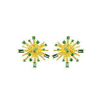 Boucles d'oreilles Green Baguette Yellow Gold Stud Round Large Cubic Zirconia Gemstone
