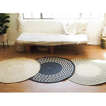 Black Triangle Print Round Wooven Mat