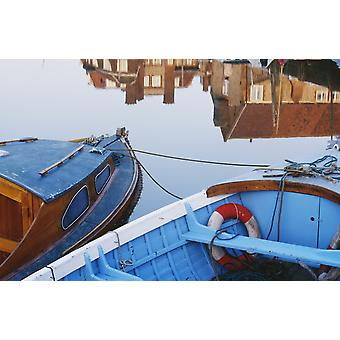 Fishing Boats And Reflection Of Houses In Harbor Blakeney PosterPrint