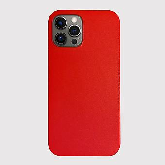 Genuine Leather Red iPhone 12 Pro Case with Magnetic Ring for MagSafe Wireless Charging