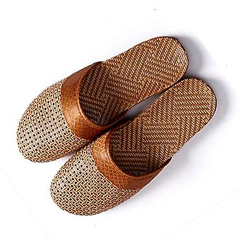 New Men Summer Shoes Slippers Flax Weaving Breathable Non-slip Male Sandals