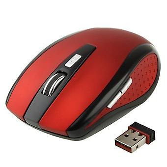 2.4 GHz 800~1600 DPI Wireless 6D Optical Mouse avec mini récepteur USB, plug and play, distance de travail jusqu'à 10 mètres (rouge)