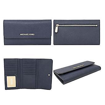 Michael kors jet set travel large trifold wallet saffiano leather navy