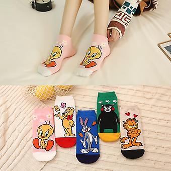 Kvinner bomull myk kul søt dyr harajuku casual simpson usynlige sokker