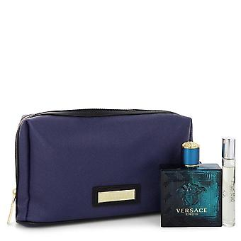 Versace Eros Gift Set By Versace 3.4 oz Eau De Toilette Spray + 0.3 oz Mini EDT Spray in Pouch