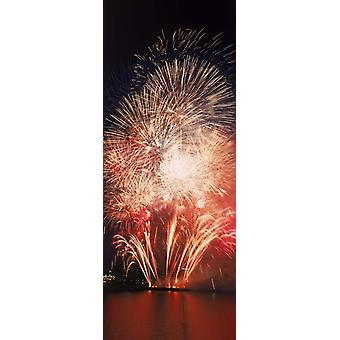 Fireworks display against night sky Poster Print