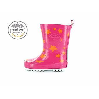 SHOESME Rainboot & Fleece Sock Welly Fuchsia Pink