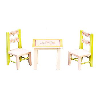 Dolls House Child's Pink & Green Table And Chairs Miniature Nursery Furniture 1:12