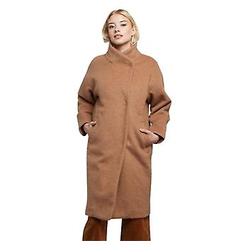 Louche Womens Donalda High Neck Cocoon Coat Camel