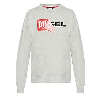 Diesel S-SAMY Peeled Box Logo Grey Sweatshirt