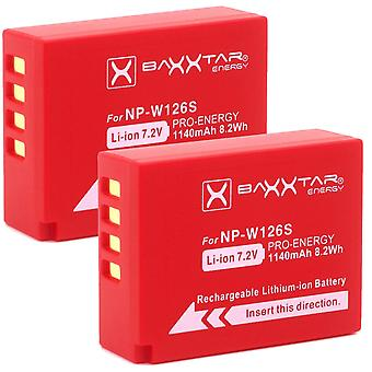 2X baxxtar pro battery compatible with fujifilm np-w126 np-w126s (real 1140mah) finepix x100f x-a5 x