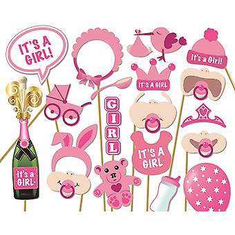 Ccinee 18 pieces kits party photo booth props,baby shower girl photo props pink 18pcs