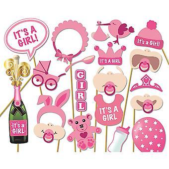 Ccinee 18 kusov súprav party fotobúdka rekvizity, baby sprcha dievča foto rekvizity ružové 18ks