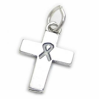 Cross With Awareness Ribbon Sterling Silver Charm .925 X 1 Memory Healing - 4146