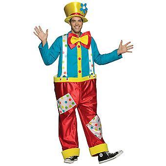 Mens klovn Circus Carnival nyhet Fancy kjole kostyme