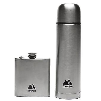 New Eurohike 0.5L Flask And Hip Flask Outdoors Camping Silver