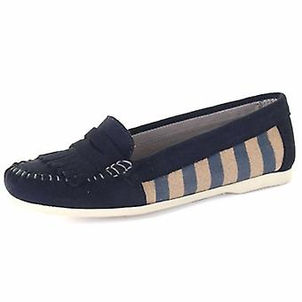 Chatham Sandy Women's Canvas Penny Loafer In Navy
