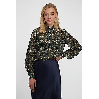 Louche Kvinders Byron Mapleleaf Trykt Floral Langærmet Bluse Grøn