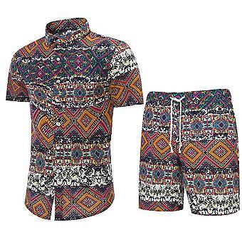 YANGFAN Men's Printed Short-sleeved Shirt Set