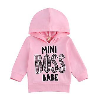 0-3y Yürümeye Başlayan Çocuk Bebek Siyah/pembe Mini Patron Bebek Mektubu Baskı Sweatshirt