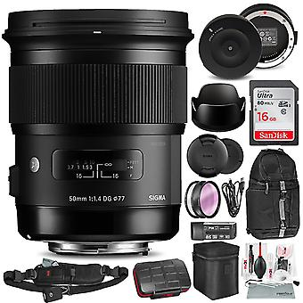 Sigma 50mm f/1.4 dg hsm art lens for nikon f with sigma usb dock, 16gb sd card, xpix camera cleaning kit, deluxe accessory bundle