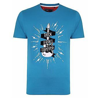 KAM Kam Mens Big Size Crew Neck Printed T-Shirt - Rock And Roll Theme - Turk Blue