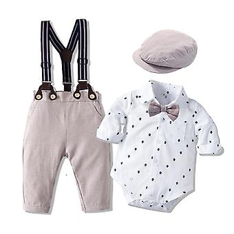 Romper kleding met Bow Hat Gentleman gedrukte lente pak katoen peuter kinderen