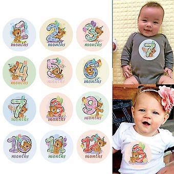 12 جهاز كمبيوتر شهر ملصقا تصوير الطفل، معلم النصب التذكاري، الأطفال حديثي الولادة الشهرية