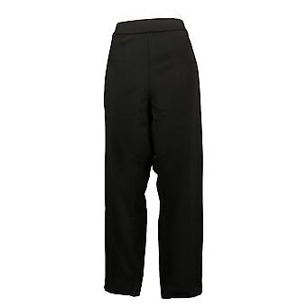 Dennis Basso Women's Pants Luxe Crepe with Button Detail Black A381852