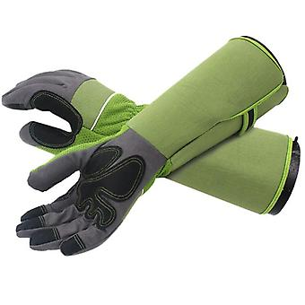 Puncture Resistant Long Sleeve Leather Gardening Gloves