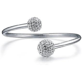FengChun Jsva Damen Armreif Armband 925 Sterling Silber Bling Shamballa Kugel Offener