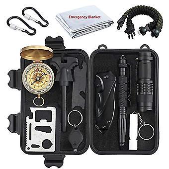 Proster Professional Survival Kit 13 in 1 Multipurpose Emergency Kit for Camping Excursion - Flint / Blanket Ref. 0757347417250