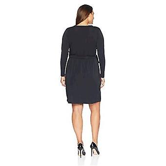 Marke - Lark & Ro Damen Plus Size Signatur Langarm Wickeln Kleid, schwarz, 1X
