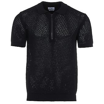 NN07 Ed Half Zip Knitted Polo Shirt - Navy
