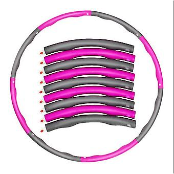 Pink and gray detachable portable 8-part hula hoop, abdominal exerciser fitness strength hula hoop az8936