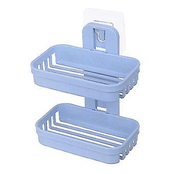 الأزرق الجدار المزدوج الصابون أطباق مربع دش حامل علبة الصابون للحمام az4937