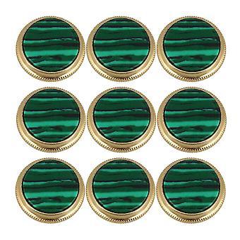 Pour 9pcs Petits accessoires Trompette Boutons Greenstone Bouton Or Vert WS1366