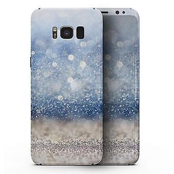 Kék fókuszálatlan ezüst csillogás - Samsung Galaxy S8 teljes testű bőrkészlet