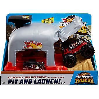 Hot Wheels GKY02 Monster Trucks Pit och lansering av benskakningar