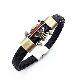 One Piece Luffy Woven Bracelet Alloy Leather Bracelet Metal Buckle