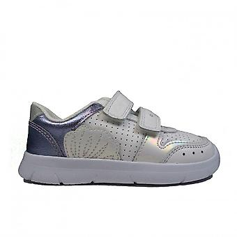 Clarks Ath Shell Toddler White Leather Girls Rip Tape Casual Trainers