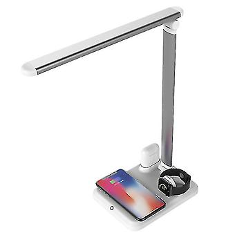 4 In 1 Qi wireless charger watch charger earphone holder led lamp for iphone,airpods,iwatch(White)