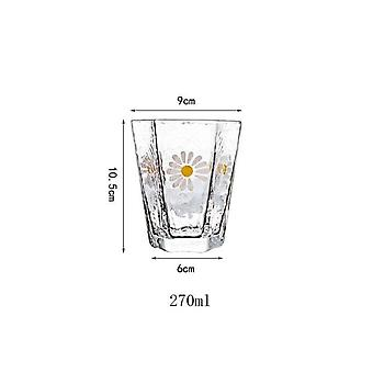 2Pcs 270ml Japanese Retro Glass Cup Small Daisies Coffee Cups Bar Club Party Tea Cup